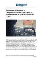 """Roquetes se suma a la campanya """"Fes un pas cap a la diversitat"""" en suport al col·lectiu LGBTI."""