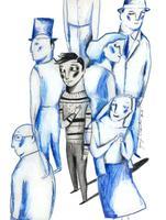 Il·lustració 'Hi sou sempre' d'Ignasi Blanch per a Catorze.cat, 2019