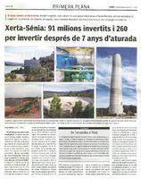 Xerta-Sénia: 91 milions invertits i 260 per invertir després de 7 anys d'aturada.