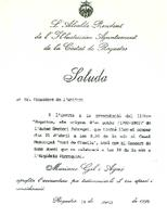 Saluda de Mariano Gil Agné, Alcalde de Roquetes, al President del CD Roquetenc