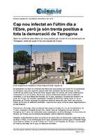 Cap nou infectat en l'últim dia a l'Ebre, però ja són trenta positius a tota la demarcació de Tarragona.