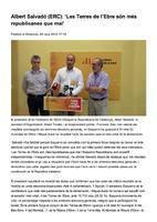 """Albert Salvadó (ERC): """" Les Terres de l'Ebre són més republicanes que mai"""""""