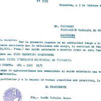 Comunicat de Ramon Tafalla Buera, President del CD Roquetenc al Tresorer de la Federació Catalana de Futbol, 3 d'octubre de 1986