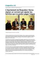 L'Ajuntament de Roquetes i Sorea signen un conveni per ajudar les famílies que no poden pagar l'aigua