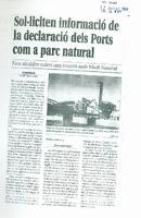 Sol·liciten informació de la declaració dels Ports com a parc natural
