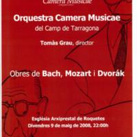 Orquestra Camera Musicae del Camp de Tarragona, Tomàs Grau, director: Obres de Bach, Mozart i Dvorák