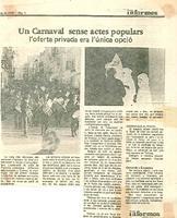 Un Carnaval sense actes populars