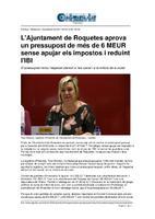 L'Ajuntament de Roquetes aprova un pessupost de més de 6 MEUR sense apujar els impostos i reduint l'IBI.