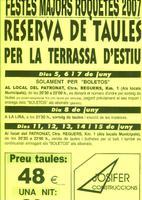 Festes Majors Roquetes 2007: reserva de taules per a la terrassa d'estiu