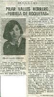 "Pilar Valles Herrero ""Pubilla de Roquetes"""