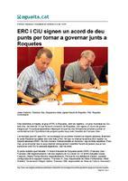 ERC i CiU signen un acord de deu punts per tornar a governar junts a Roquetes