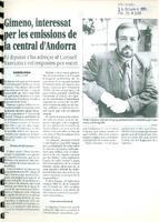 Gimeno, interessat per les emissions de la central d'Andorra
