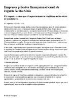 Empreses privades finançaran el canal de regadiu Xerta-Sénia