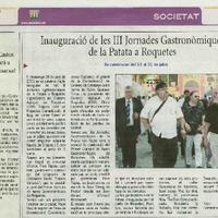 Inauguració de les III Jornades Gastronòmiques de la Patata a Roquetes