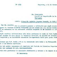 Comunicat del CD Roquetenc al Comité de Competició de la FCF en relació a l'alineació inadequada del jugador Basilio Casanova Fernández, 1986