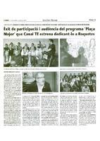 """Èxit de participació i audiència del programa """"Plaça Major"""" que Canal TE estrena dedicant-lo a Roquetes"""