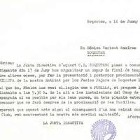 Comunicat del CD Roquetenc a les Pubilles de les Festes Majors de Roquetes, 1989