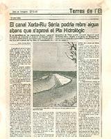 El Canal Xerta-Riu Sénia podria rebre aigua abans que s'aprovi el Pla Hidrològic