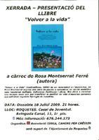 """Xerrada-Presentació del llibre """"Volver a la vida """" a càrrec de Rosa Montserrat Ferré"""