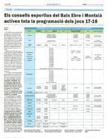 Els consells esportius del Baix Ebre i Montsià activen tota la programació dels jocs 17-18.