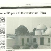 Més d'un milió per a l'Observatori de l'Ebre