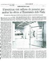 S'invertiran vint milions de pessetes per acabar les obres a l'Ecomuseo dels Ports.