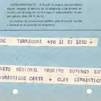 Telegrama del CD Roquetenc al Club Gimnàstic de Tarragona, 1970