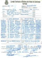 Acta de la Federació Catalana de Fútbol del partit disputat entre el CD Roquetenc i el CF Santa Bàrbara, el 13 de març de 1994