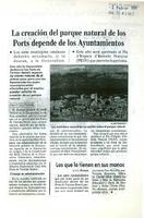 La creación del parque natural de los Ports depende de los Ayuntamientos