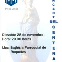 Concert del Centenari de la Congregació Mariana de Roquetes: 1908-2008