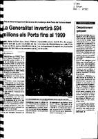 La Generalitat invertirá 594 milions als Ports fins al 1999