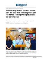 Movem Roquetes i Tortosa donen part del sou dels seus regidors per fer front a l'emergència provocada pel coronavirus.