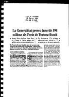 La Generalitat preveu invertir 594 milions als Ports de Tortosa-Beseit