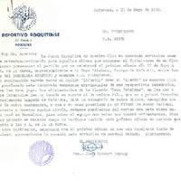 Carta de Joan Guinart Espuny, president del CD Roquetenc al CD Bítem, 1989