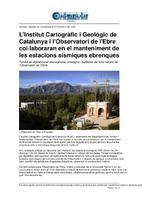 L'Institut Cartogràfic i Geològic de Catalunya i l'Observatori de l'Ebre col·laboraran en el manteniment de les estacions sísmiques ebrenques.