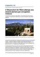 L'Observatori de l'Ebre alberga una estació pionera per enregistrar meteors.