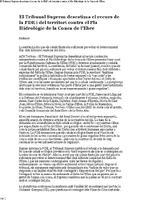 El Tribunal Suprem desestima el recurs de la PDE i del territori contra el Pla Hidrològic de la Conca de l'Ebre.