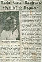 """Maria Cinta Mangrané, """"Pubilla"""" de Roquetes"""