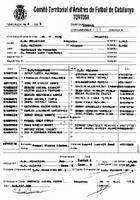 Acta de la Federació Catalana de Futbol del Partit entre el CD Alcanarr i el CD Roquetes, el 25 de març de 1995