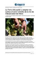 La Terra Alta aprèn a adaptar els cultius al canvi climàtic de la mà de l'Observatori de l'Ebre.