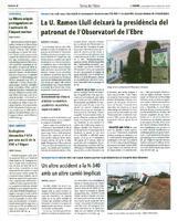 La U. Ramon Llull deixarà la presidència del patronat de l'Observatori de l'Ebre.