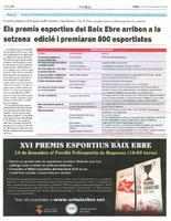 Els premis esportius del Baix Ebre arriben a la setzena edició i premiaran 800 esportistes.