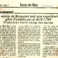 El centre de Roquetes serà una experiència pilot d'estudis per al BUP i l'FP.