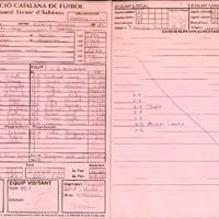 Acta de la Federació Catalana de Futbol del partit disputat entre EF Dertusa i el CD Roquetes, el 9 de Maig de 1998