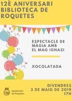 Cartell de les activitats del 12è Aniversari de la Biblioteca de Roquetes, 3 de maig de 2019