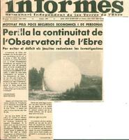 Perilla la continuitat de l'Observatori de l'Ebre: per evitar el dèficit els jesuïtes redueixen les investigacions
