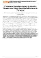 L&amp;#039;alcalde de Roquetes rellevarà el republicà&lt;br /&gt;<br /> Gervasi Aspa com a diputat de la Diputació de&lt;br /&gt;<br /> Tarragona