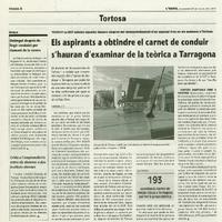 Els aspirants a obtindre el carnet de conduir s'hauran d'examinar de la teòrica a Tarragona