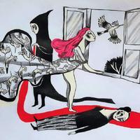 Il·lustració 'La Mujer frívola', un diàleg entre dues ciutats confinades i entre dos cases amb finestres, amb Myriam Mézières, per Ignasi Blanch