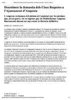 Desestimen la demanda dels Cines Roquetes a l'Ajuntament d'Amposta
